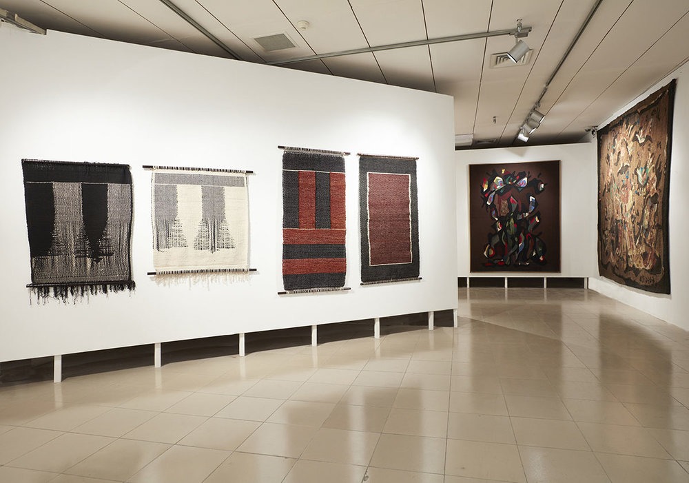 Installation view, works by Monika Correa (left). Courtesy of the artist and Jhaveri Contemporary, Mumbai. Works by Rashid Choudhury (right). Courtesy of the Bangladesh National Museum and Bangladesh Shilpakala Academy. Photo courtesy of the Dhaka Art Summit and Samdani Art Foundation. Photo credit: Jenni Carter