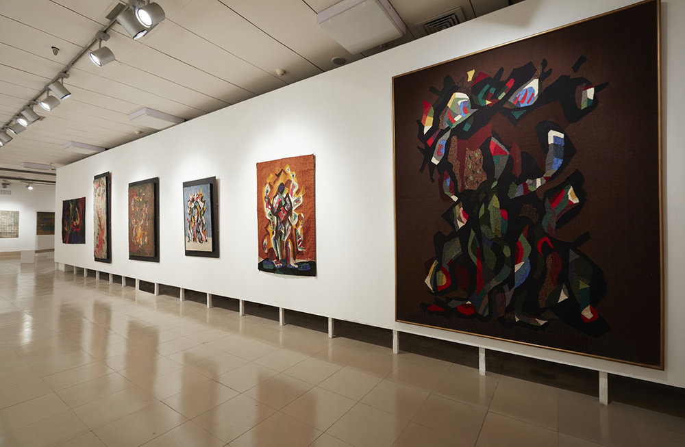 Installation view, works by Rashid Choudhury. Courtesy of the Bangladesh National Museum, Bangladesh Shilpakala Academy, Anwar Hossain Manju Collection, Dhaka and Farooq Sobhan Collection, Dhaka. Photo courtesy of the Dhaka Art Summit and Samdani Art Foundation. Photo credit: Jenni Carter