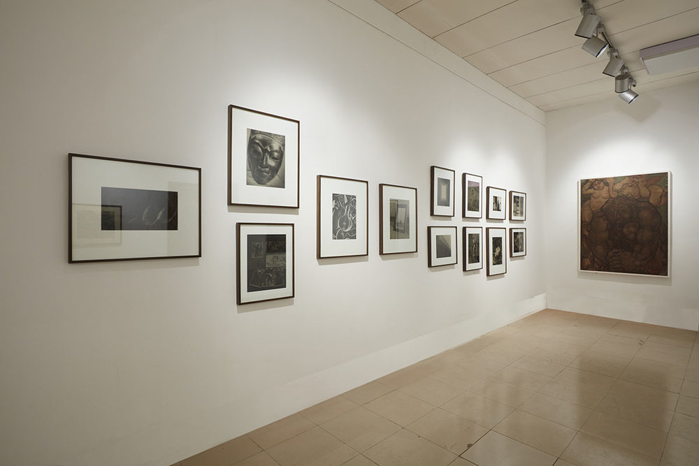 Installation view, works by Lionel Wendt (left), courtesy of Jhaveri Contemporary, Mumbai and Mahijit Singh and Nalin Tomar, Delhi, and S. M. Sultan (front) courtesy of the Bangladesh Shilpakala Academy. Photo courtesy of the Dhaka Art Summit and Samdani Art Foundation. Photo credit: Jenni Carter