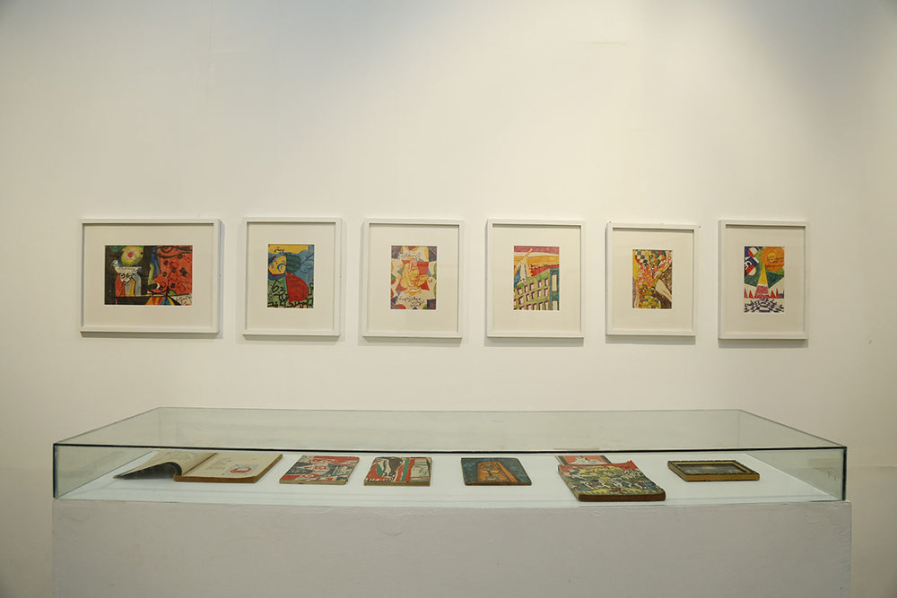 Installation view, works by Bagyi Aung Soe. Courtesy of the Samdani Art Foundation Collection, private collection, Singapore and Bagyi Lynn Wunna collection, Yangon. Photo courtesy of the Dhaka Art Summit and Samdani Art Foundation. Photo credit: Noor Photoface