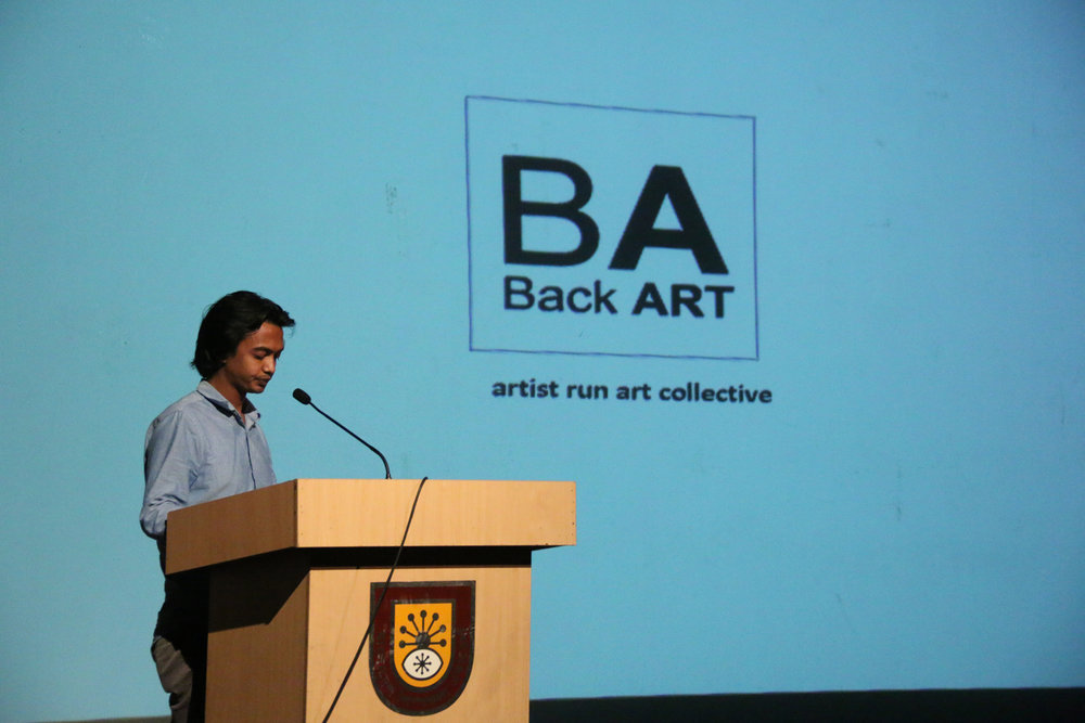 Back Art presenting at the Samdani Artist Led Initiatives Forum. Photo credit: Noor Photoface