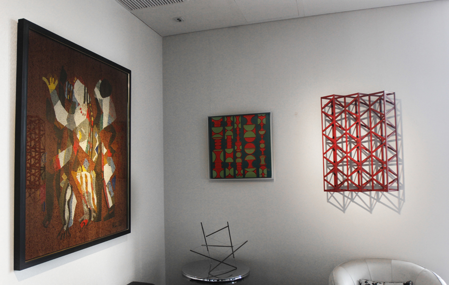 (Left) Rashid Choudhury,  Untitled , 1982 / (Centre) Anwar Jalal Shemza,  Red and Green Relief , 1976 / (Right) Rasheed Araeen,  Burgundy Light , 1971. Courtesy of the Samdani Art Foundation. Image credit: Noor Photoface