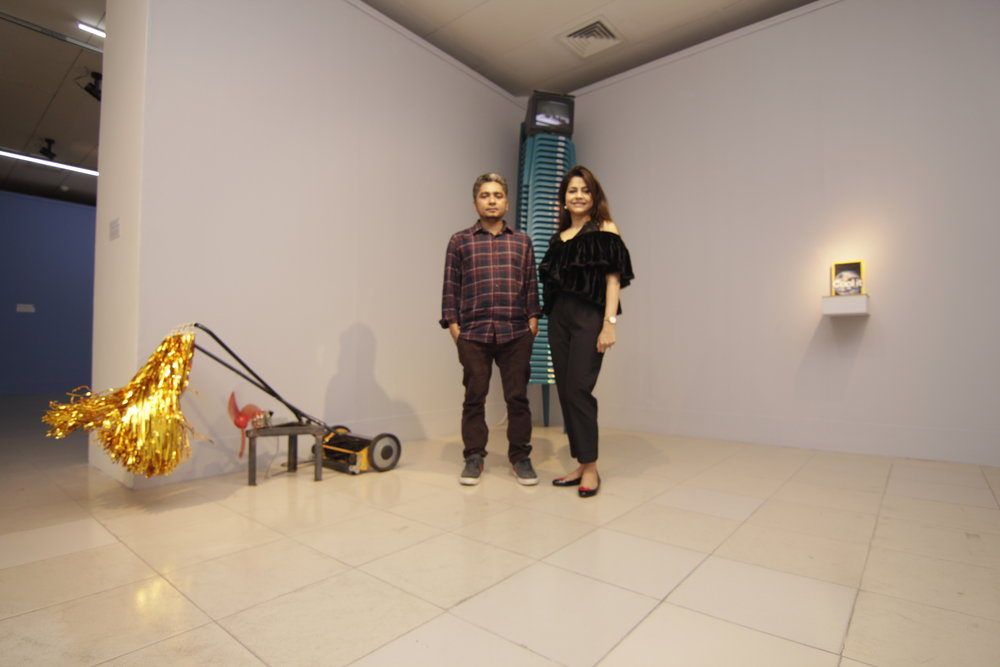 Mizanur Rahman Chowdhury and Nadia Samdani infront of The Soul Who Fails to Fly into the Space (2018)