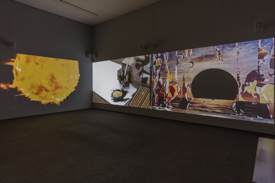 Installation image of Neha Choksi's  Everything sunbright  i) in the womb ii) lives iii) ever rehearsing the end *indirectly  at the Hammer Museum, Los Angeles. Photo credit: Brian Forrest.