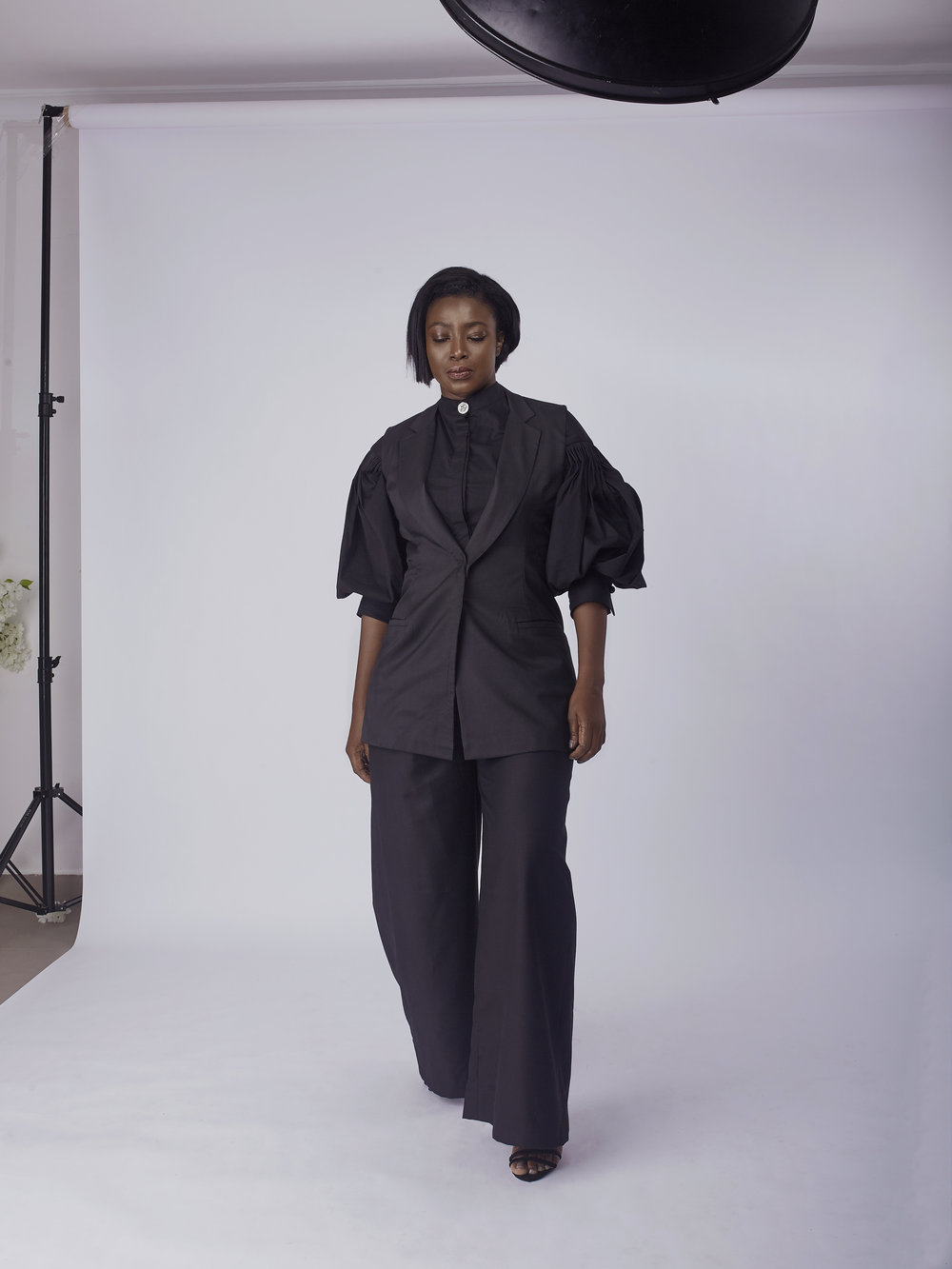 Bishop sleeves Shirt with Sleeveless Jacket and Wide Leg Pants