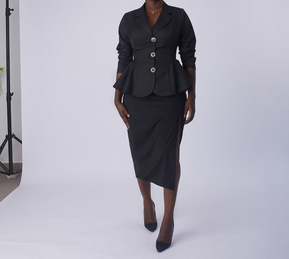 Peplum Jacket with Straight Skirt