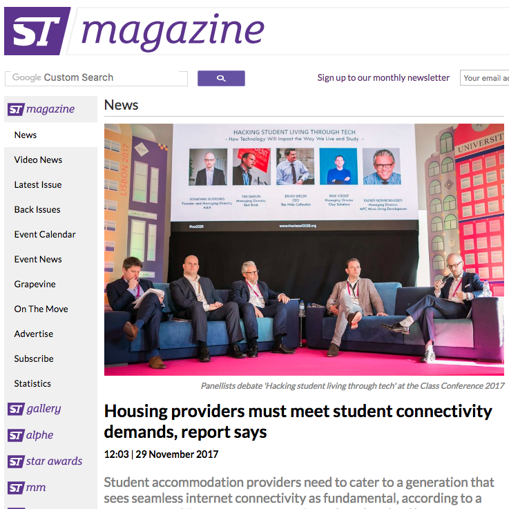29 November 2017 ST Magazine: Housing providers must meet student connectivity demands, report says > go to story