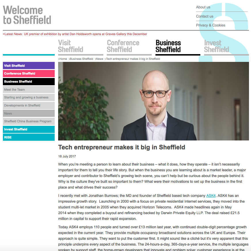 18 July 2017 Business Sheffield: Tech entrepreneur makes it big in Sheffield > go to story