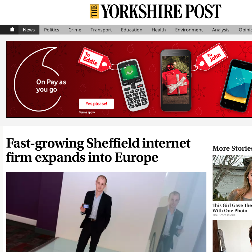 31 December 2015 Yorkshire Post:Fast-growing Sheffield internet firm expands into Europe > go to story