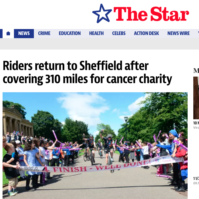 28 June 2016 The Star:Riders return to Sheffield after covering 310 miles for cancer charity > go to story
