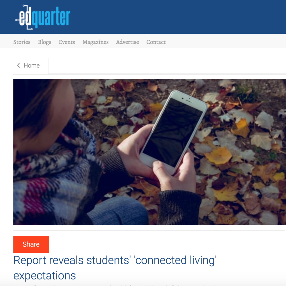 16 November 2017  Ed Quarter: Report reveals students' 'connected living' expectations   > go to story