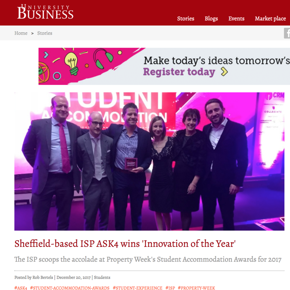 20 December 2017 Sheffield-based ISP ASK4 wins 'Innovation of the Year' > go to story