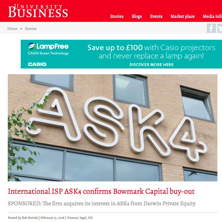 13th February 2018  International ISP ASK4 confirms Bowmark Capital buy-out   > go to story