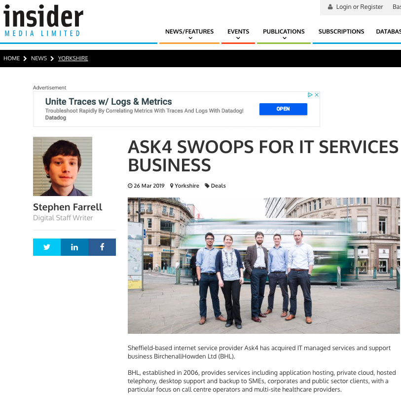 26th March 2019  ASK4 swoops for IT services business   > go to story