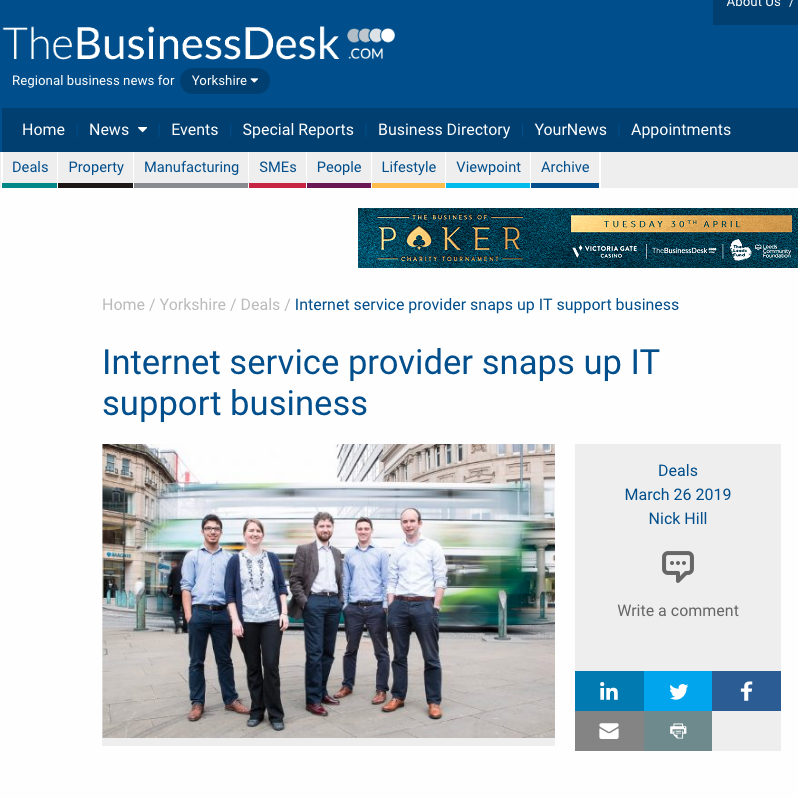 26th March 2019  Internet service provider snaps up IT support business   > go to story