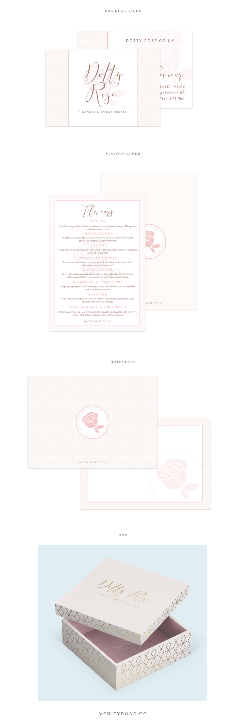 branding, branded print materials, business cards, packaging, flavour card, for dotty rose cakery and sweet treats, wedding professional, wedding business, wedding cake designer, luxury brand styling and web design for female entrepreneurs. pastel color palette, blue, pink, floral inspiration, watercolor, geometric pattern, business owner, blogger. See more for brand board, brand style guide, social media branding and web design.