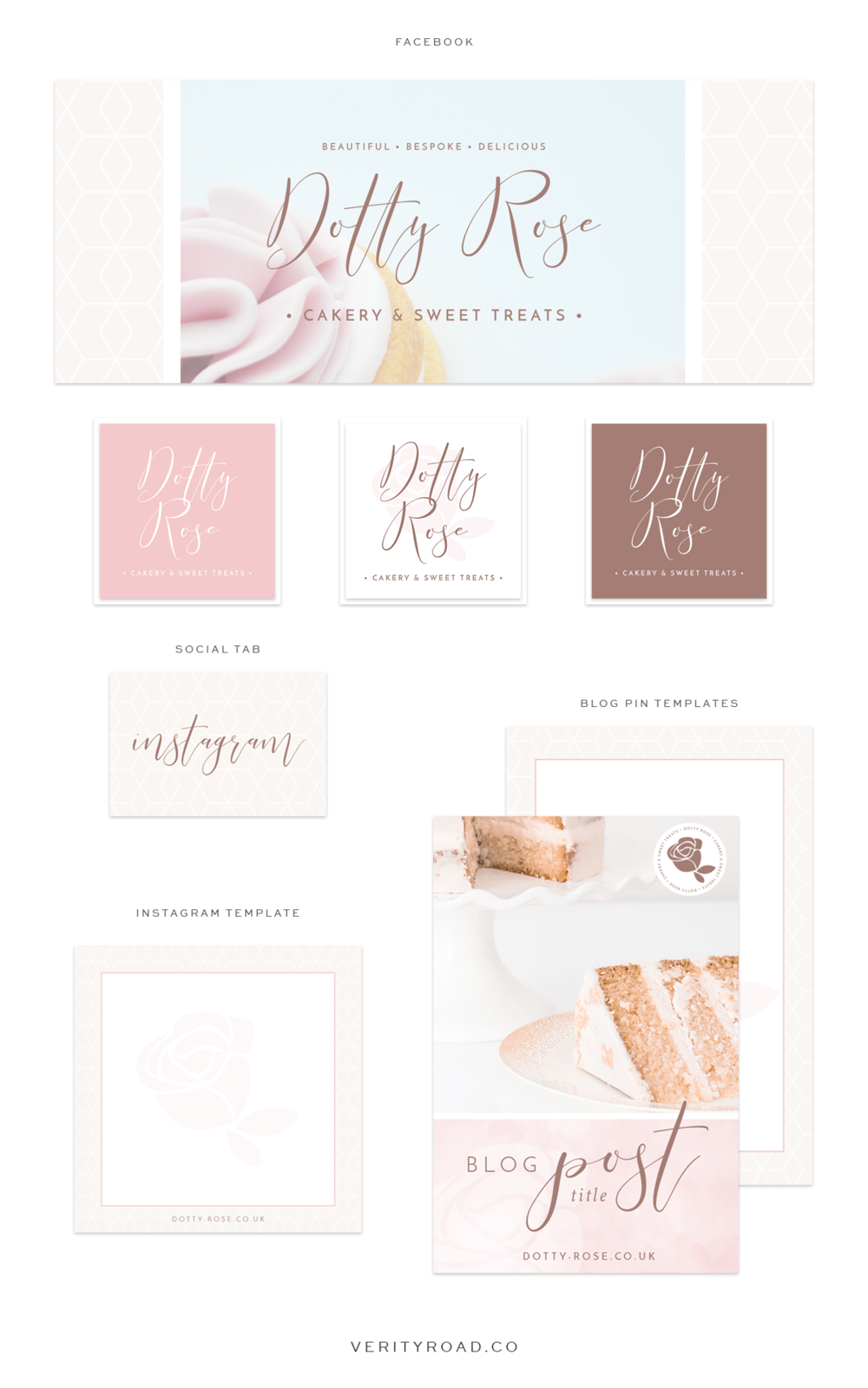 social media branding for dotty rose cakery and sweet treats, wedding professional, wedding business branding, wedding cake designer, luxury branding and web design for female entrepreneurs, feminine branding. Inspiration board of typography, script font, sans serif, serif, pastel color palette, blue, pink, floral inspiration, watercolor, geometric pattern, business owner. instagram, pinterest, blog pin graphic, facebook cover. See more for brand board, mood board and web design.