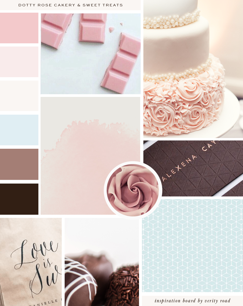 Mood board for dotty rose cakery and sweet treats, wedding professional, wedding business branding, wedding cake designer, luxury branding, feminine branding and web design for female entrepreneurs. Inspiration board of typography, script font, sans serif, serif, pastel color palette, blue, pink, floral inspiration, watercolor, geometric pattern, business owner, feminine business. See more for brand board, social media branding and web design.