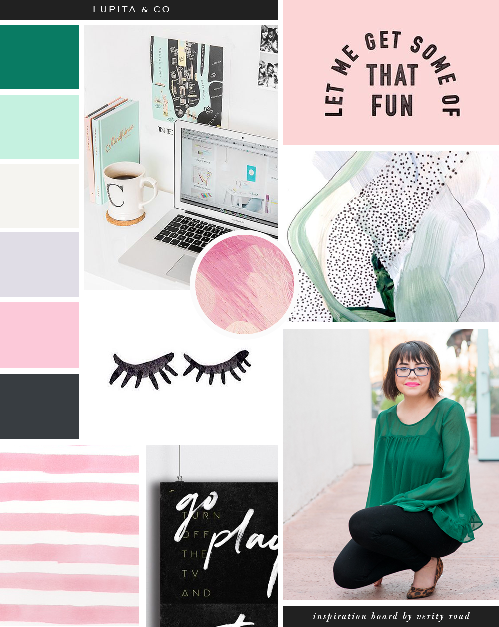 Mood board for lupita & co, online business management and strategy, virtual assistants, luxury feminine branding and web design for female entrepreneurs, feminine business, feminine branding. Inspiration board of typography, brush script font, sans serif, bright pastel color palette, mint, pink, lilac, paint strokes, pattern, business owner, blogger.. See more for brand board, social media branding & printed materials.