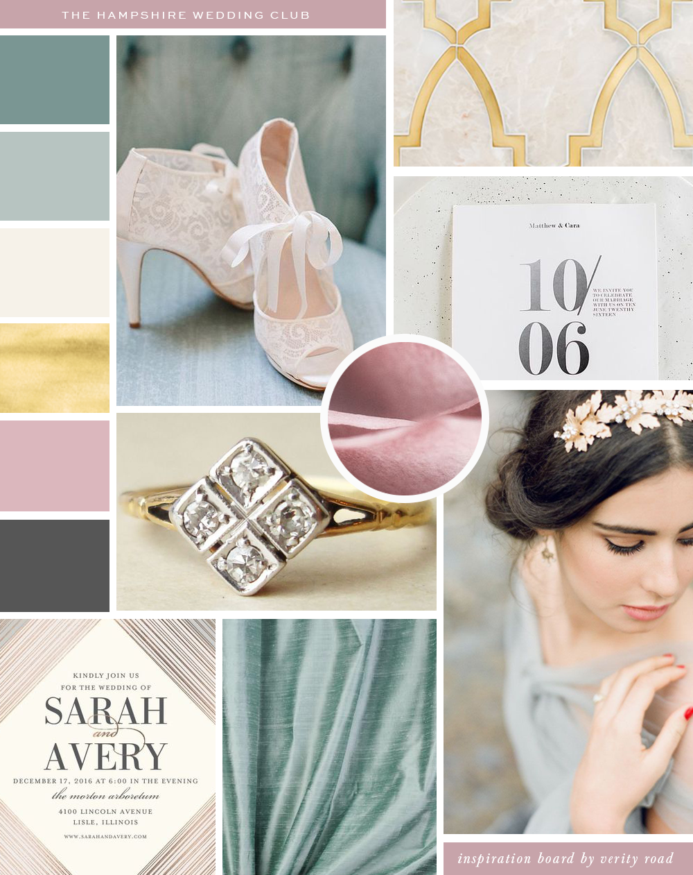 Mood board for THE HAMPSHIRE WEDDING CLUB, WEDDING PROFESSIONALS, WEDDING SUPPLIERS, PHOTOGRAPHERS, WEDDING BUSINESS, WEDDING PLANNERS, FLORISTS. luxury feminine brand styling and web design for female entrepreneurs FROM VERITY ROAD. Inspiration board of typography, Sans serif, CHARCOAL, DUSTY ROSE, TEAL, MUTED MINT, gold, color palette,  pattern, TEXTURE, ROMANTIC BRIDE, LUXURY WEDDING, ELEGANT HIGH-END ROMANCE, business owner, blogger, watercolor, geometric shape. See more for brand board, brand style guide, social media branding .