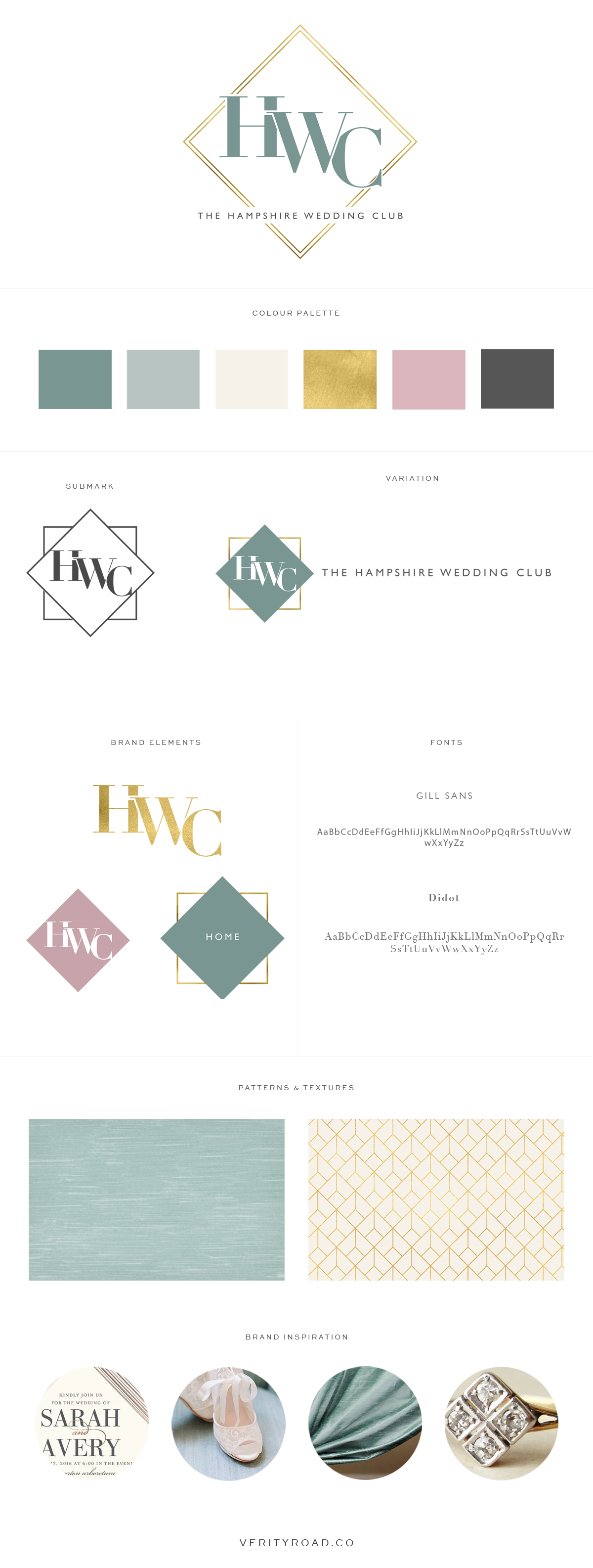 BRAND board for THE HAMPSHIRE WEDDING CLUB, WEDDING PROFESSIONALS, WEDDING SUPPLIERS, PHOTOGRAPHERS, WEDDING BUSINESS, WEDDING PLANNERS, FLORISTS. luxury feminine brand styling and web design for female entrepreneurs FROM VERITY ROAD. FEMININE BRANDING, LOGO, SUBMARK, BRAND ELEMENTS, Inspiration board of typography, serif, CHARCOAL, DUSTY ROSE, TEAL, MUTED MINT, gold, color palette,  pattern, TEXTURE, ROMANTIC BRIDE, LUXURY WEDDING, ELEGANT HIGH-END ROMANCE, business owner, blogger, watercolor, geometric shape. See more for INSPIRATION BOARD, brand style guide, social media branding .