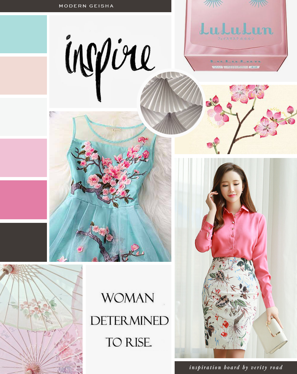 Mood board for modern geisha,  luxury feminine brand styling and web design for female entrepreneurs. Inspiration board of typography, brush script font, serif, brown, pink, blush, tiffany blue color palette,  japanese fans, cherry blossom flowers, femininity, FLORAL pattern, business owner, blogger. See more for brand board, brand style guide, web design, social media branding.