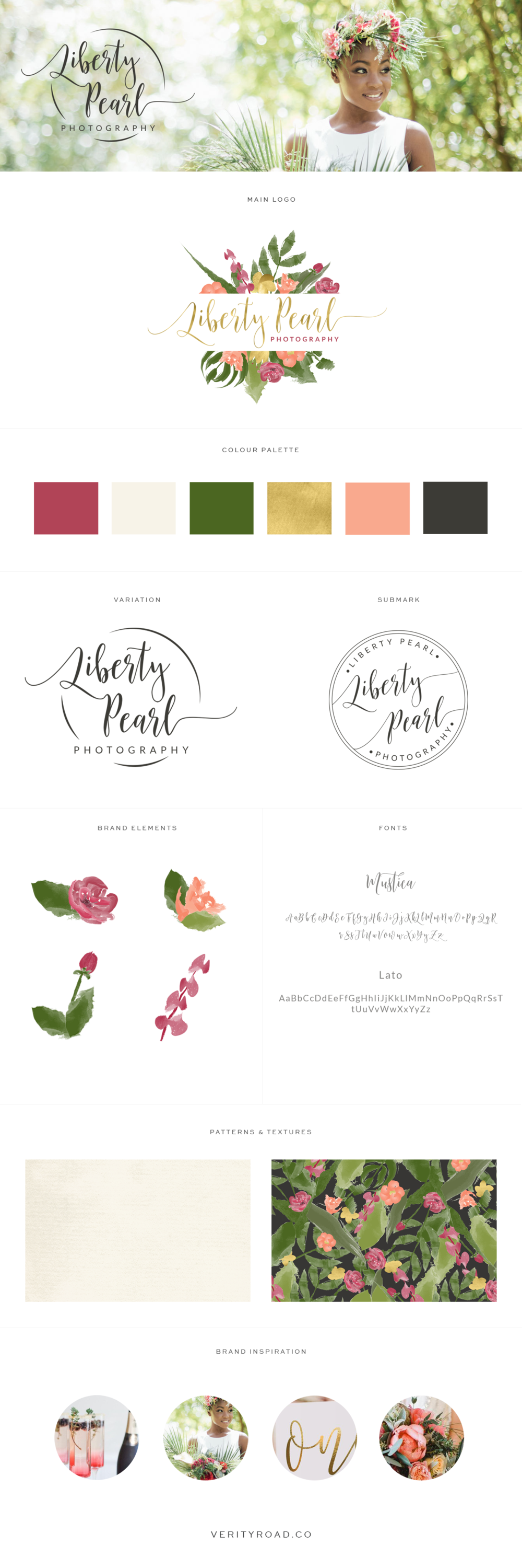 brand board for liberty pearl photography,luxury brand styling and web design for female entrepreneurs. feminine exotic branding, brand style guide, logo, submark, brand elements, script font, sans serif, GREEN, SAGE, BROWN, DEEP RED, CORAL, BRIGHT COLOR PALETTE, FLORAL pattern, flowers business owner, blogger. See more for mood board, social media branding, print materials and website design.