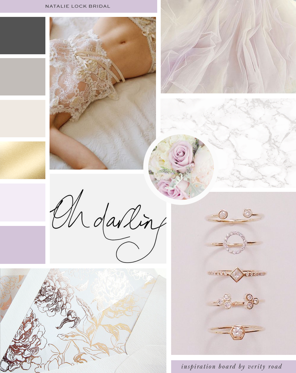 Mood board for bridal accessories creative business and female entrepreneur Natalie Lock. Inspiration for business branding and brand design. Feminine and graceful pretty color palette, lilac and champagne gold, lace and tulle material for this wedding business. Beautiful calligraphy script font. See the verity road portfolio for the brand board, brand style guide, social media branded facebook design, printed business materials and web design. wedding professionals, wedding business, bridal boutique.