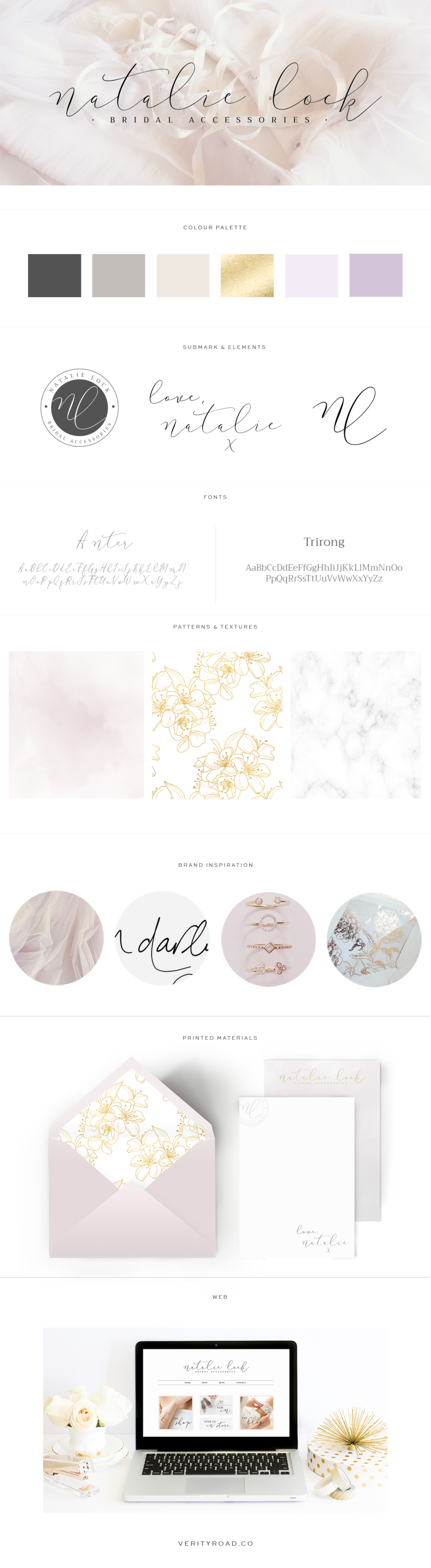 Brand style board for Natalie Lock Bridal | This luxury brand design board for a wedding bridal boutique business, wedding professional, shop owner and creative female entrepreneur has the logo, variation and submark, a muted lilac, ivory, gold, champagne, charcoal color palette with gorgeous script font and serif typography. Feminine branding includes watercolor texture, marble, and floral pattern. Click for mood board and social media branding and web design! verity road