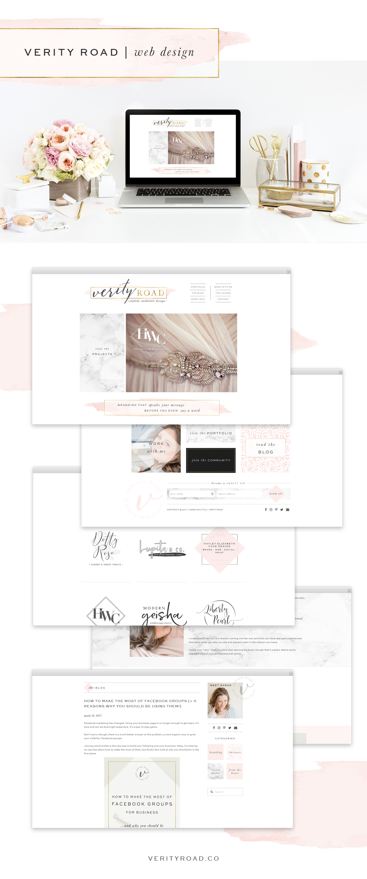 Web design for verity road, luxury brand styling and web design for female entrepreneurs. Luxury branding, feminine branding, feminine business, brand style guide, logo design, submark, brand elements, calligraphy, sans serif, black, latte, blush, pink, gold, color palette, pattern, marble, watercolor brand board, branding and website design.