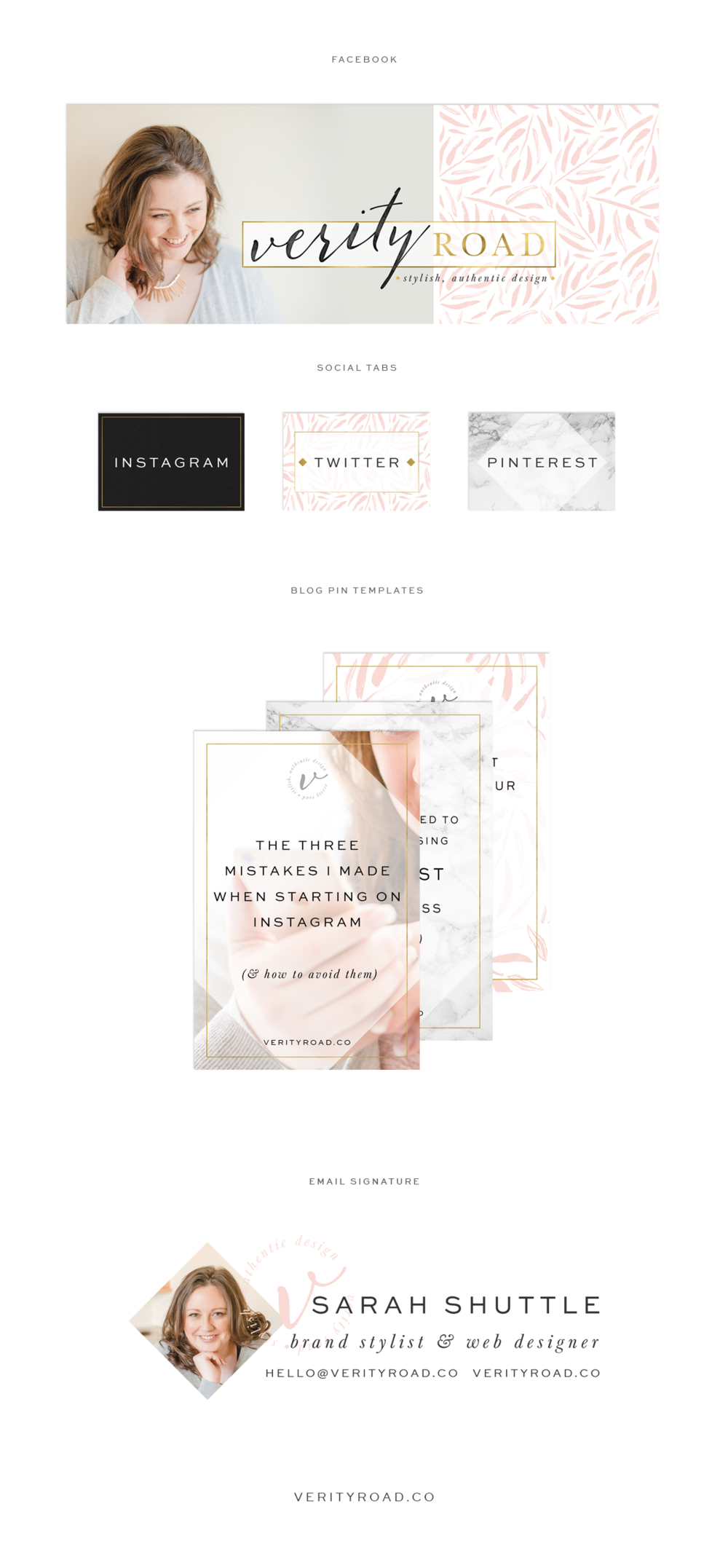 social media branding for verity road, luxury brand styling and web design for female entrepreneurs. Feminine branding, luxury branding, feminine business, inspiration board of typography, script font, color palette, calligraphy, sans serif, black, latte, blush, pink, gold, color palette, pattern, floral inspiration, watercolor, geometric pattern, business owner. instagram, pinterest, blog pin graphic, facebook cover. See more: brand board, brand style guide, mood board and web design.