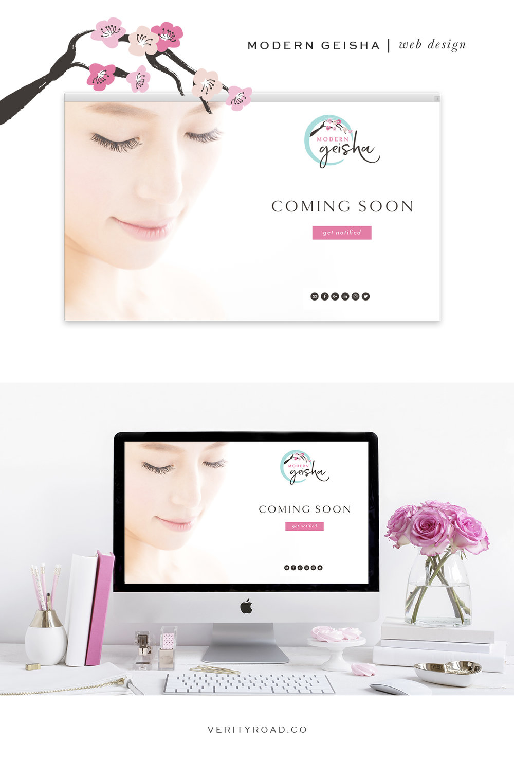 Web design for modern geisha, brand board for modern geisha, luxury branding and web design for female entrepreneurs. Feminine branding, brand style guide, logo design, submark, brand elements, brush script font, serif, brown, pink, blush, tiffany blue color palette, femininity, floral pattern, feminine business. See more for mood board, social media branding, website design, brand style guide.