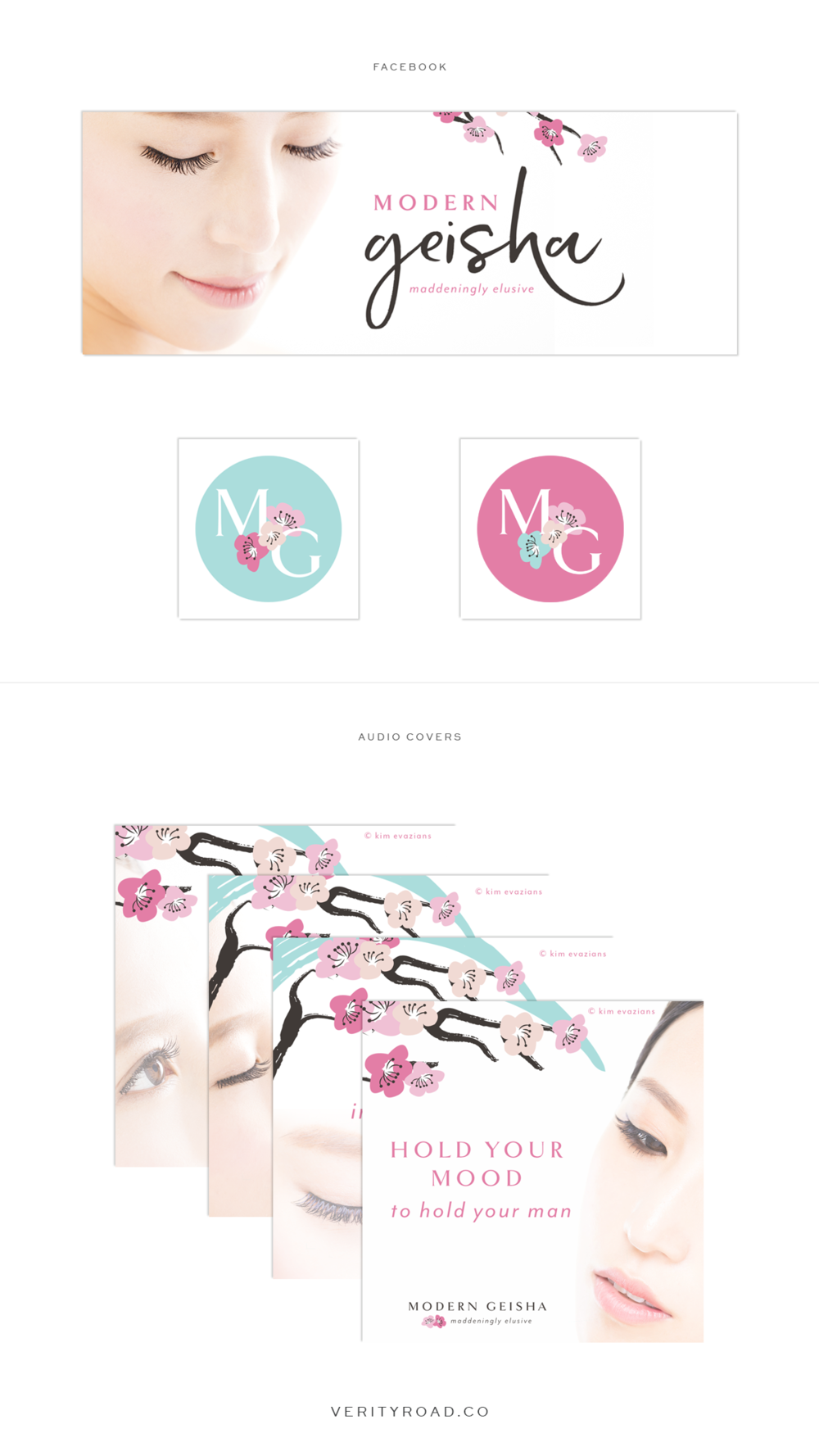 social media branding for Modern Geisha, luxury brand styling and web design for female entrepreneurs. feminine branding, luxury branding, feminine business. Inspiration board of typography, script font, color palette, brush script font, serif, brown, pink, blush, tiffany blue color palette, femininity, FLORAL pattern, business owner. instagram, pinterest, blog pin graphic, facebook cover. See more for brand board, brand style guide, mood board and web design.