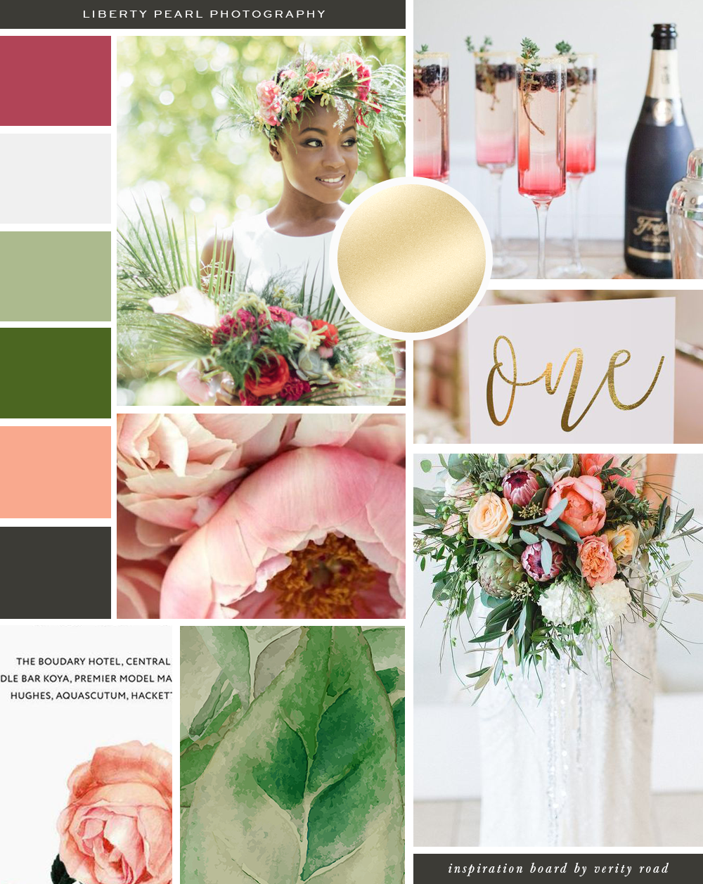 Mood board for Liberty pearl photography, wedding photographer, destination weddings, wedding professionals, bridal business, wedding business, luxury feminine brand styling and web design for female entrepreneurs. exotic branding, Inspiration board of typography, calligraphy script font, serif, green, sage, brown, deep red, coral, bright color palette, wedding stylist, wedding industry, femininity, FLORAL pattern, business owner, blogger. See more for brand board, brand style guide,.