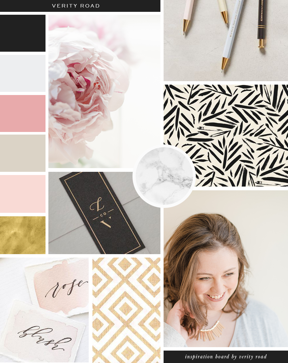Mood board for Verity Road, luxury branding and web design for female entrepreneurs. Feminine branding, feminine business, business branding. Inspiration board of typography, script font, sans serif, black, gold, blush, latte, floral inspiration, marble pattern, geometric shapes, business owner, office, workspace, watercolor. See more for brand board, social media branding and web design.
