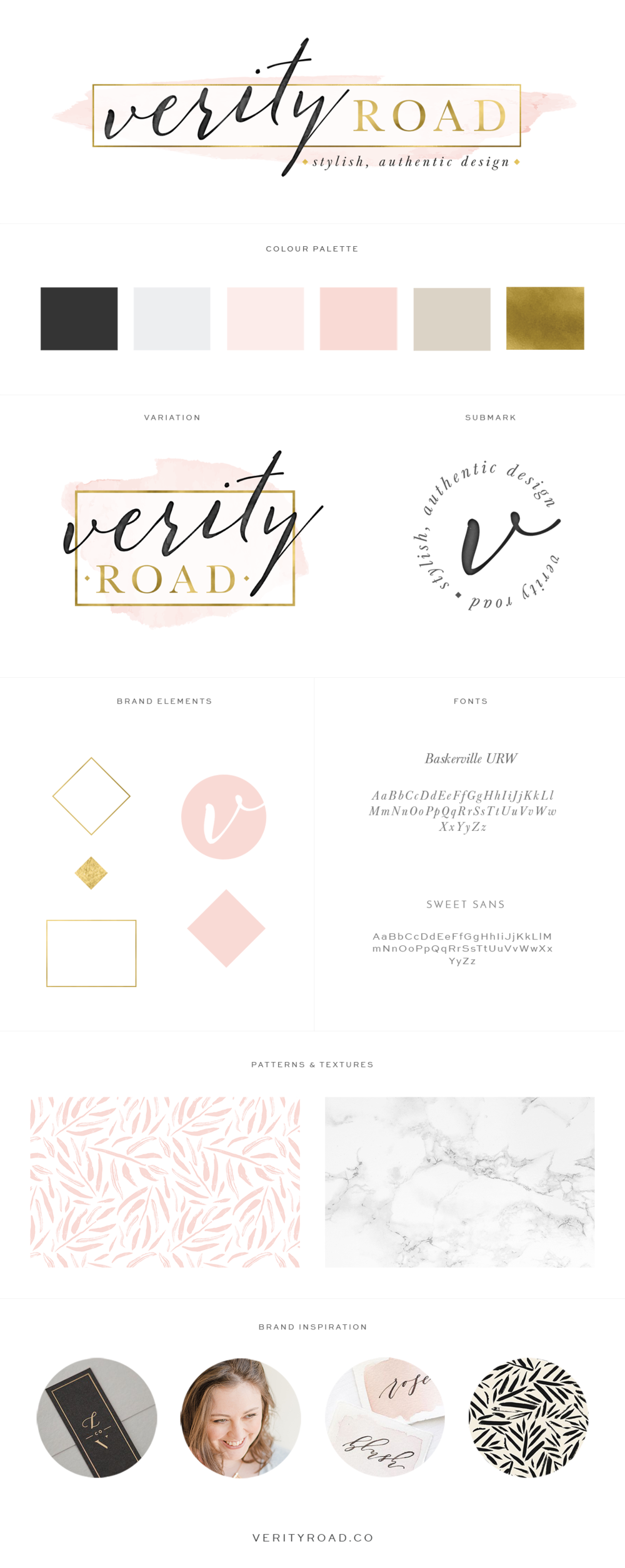 Brand board for verity road, luxury branding, brand styling and web design for female entrepreneurs. Feminine branding, brand style guide, logo design, submark, brand elements, calligraphy, sans serif, black, latte, blush, pink, gold, color palette, pattern, marble, texture, typography, script font, business owner, blogger, feminine business. See more for mood board, social media branding, print materials and website design.