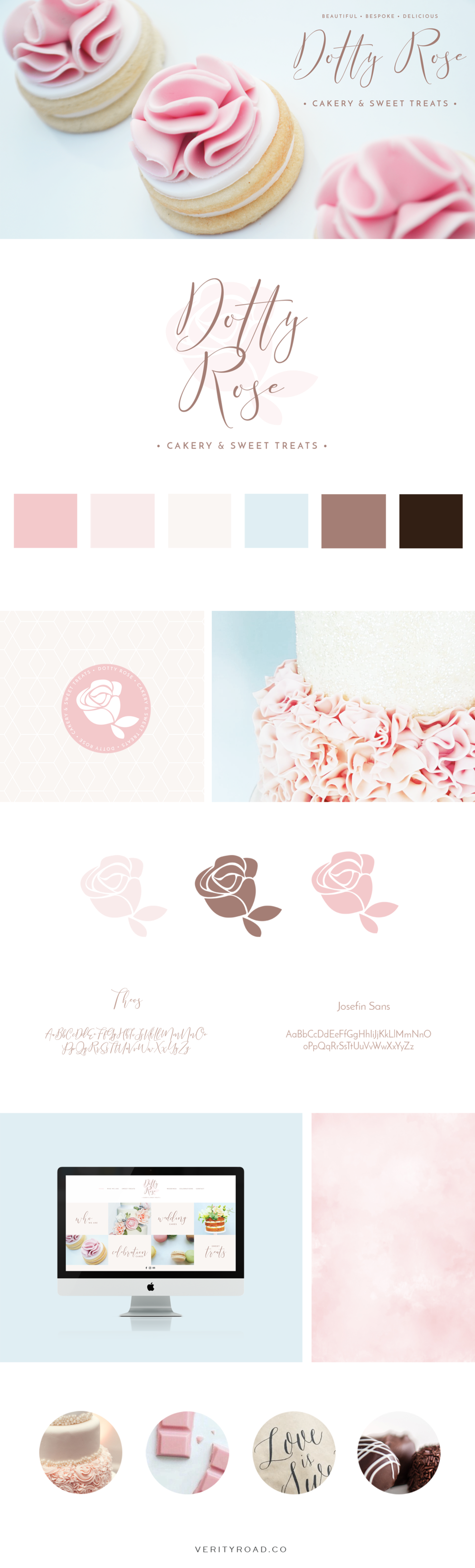 dotty rose cakery and sweet treats branding. brand identity, brand design, brand board, brand style, brand styling, web design, wedding business branding, luxury branding, feminine branding, female entrepreneur, business owner, bakery, cake artist, wedding cakes, social media branding, pastel color palette, pink, blue, chocolate brown, geometric, flowers. Logo design, branding elements, patterns & textures, typography, script font, sans serif, blogger, creative.