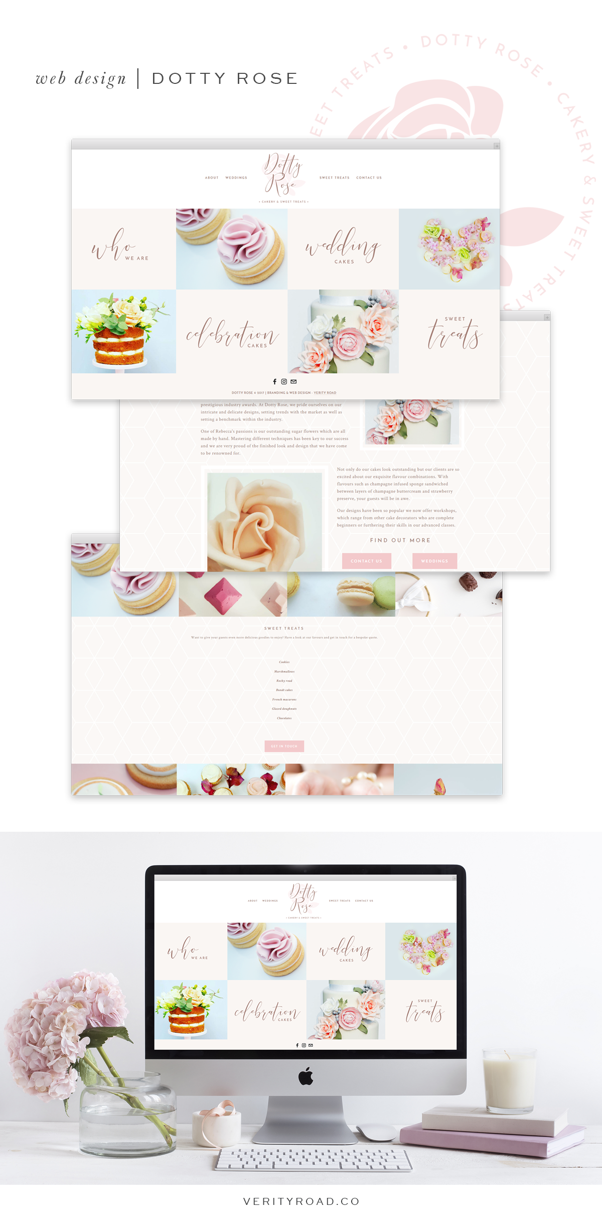 web design for dotty rose cakery and sweet treats, wedding professional, wedding business branding, feminine branding, wedding cake designer, luxury branding for female entrepreneurs. squarespace design, pastel color palette, feminine business. See more for brand board, brand style guide, social media branding and inspiration.