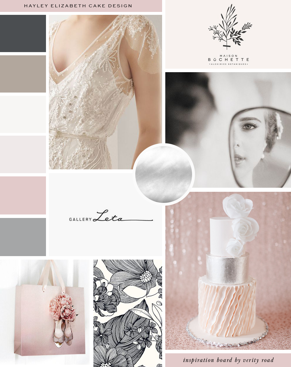 Mood board, inspiration board for the branding, brand design, brand styling of Hayley Elizabeth Cake Design by Verity Road.Feminine branding, feminine web design, luxury branding, female entrepreneur, wedding professional, wedding business branding. Dusky pink, grey, silver, taupe and charcoal. Elegant, romantic style.