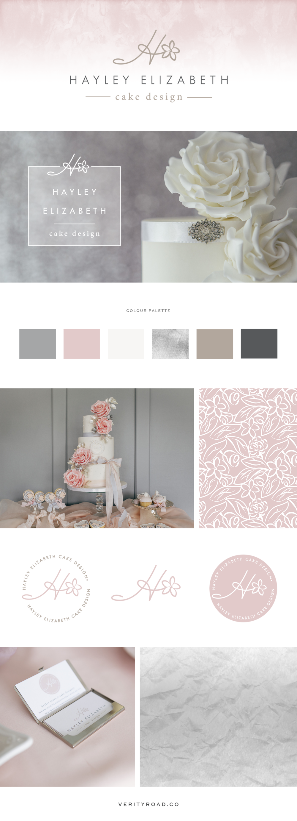 Brand board, brand style guide for the branding of Hayley Elizabeth Cake Design by Verity Road.Feminine branding, feminine web design, luxury branding, female entrepreneur, wedding professional, wedding business branding. Logo design, brand elements, feminine colour palette, business card design, patterns and textures. See more for custom web design.