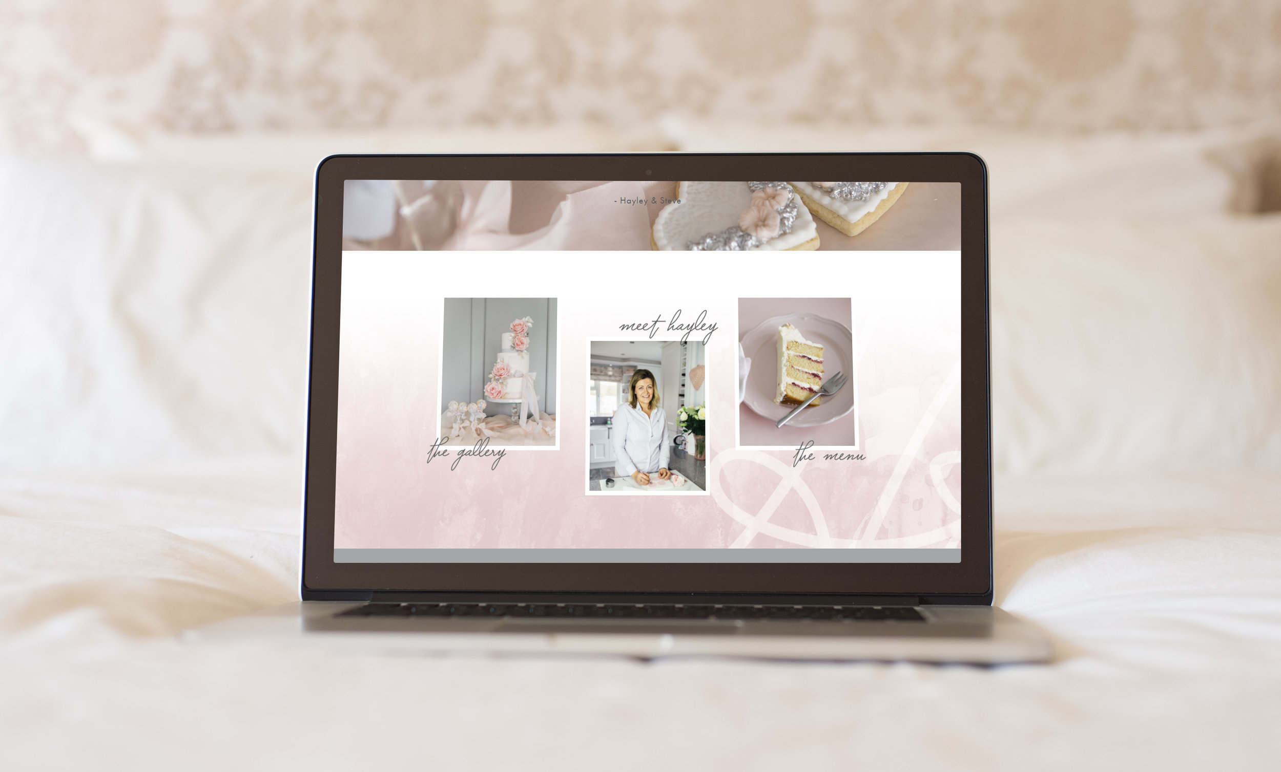 Custom web design and branding of Hayley Elizabeth Cake Design by Verity Road. Feminine branding, feminine web design, luxury branding, luxury web design, website design, female entrepreneur, wedding professional, wedding business branding. Logo design, brand elements, feminine color palette, patterns and textures.