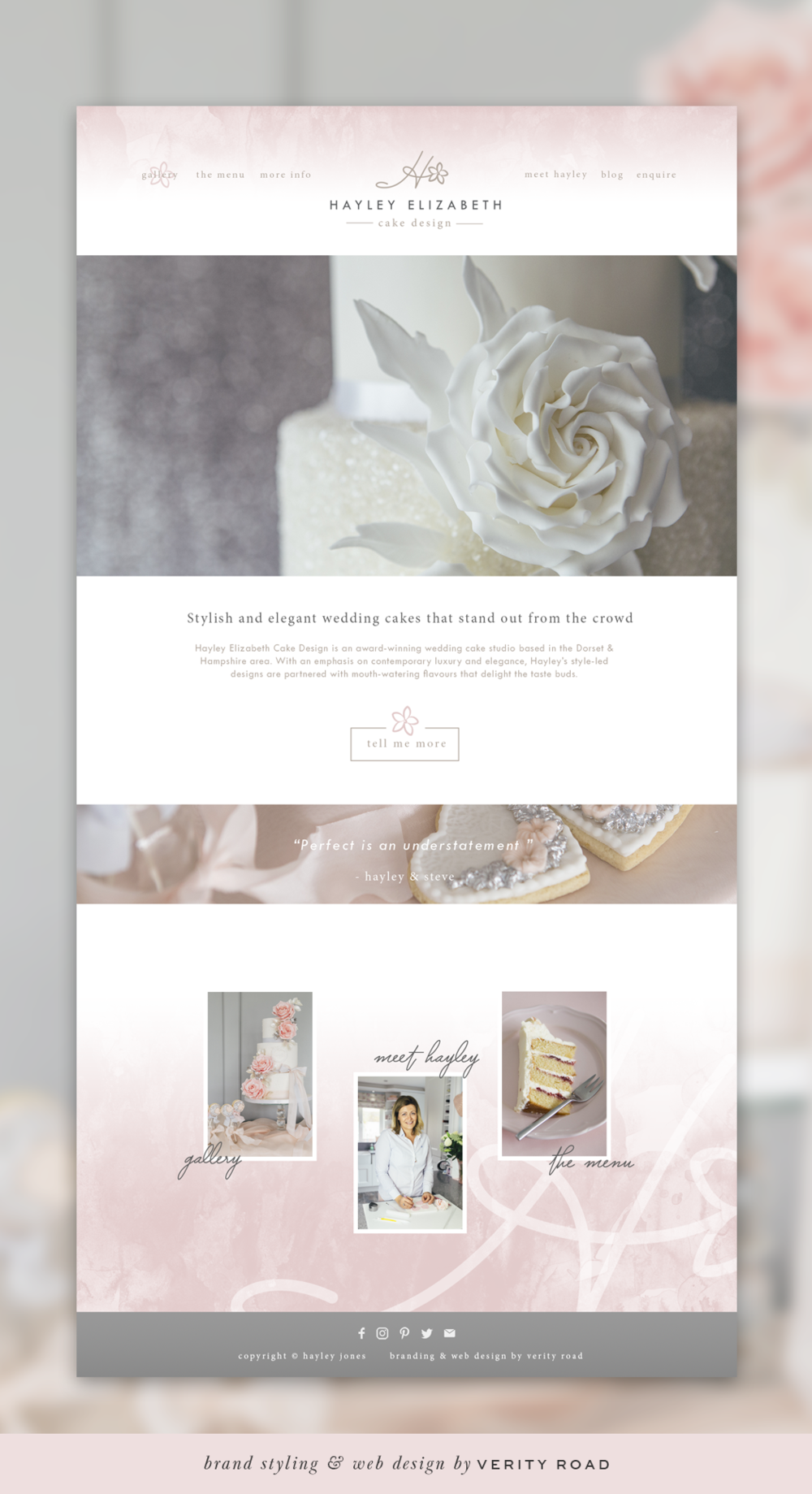 Custom web design and branding of Hayley Elizabeth Cake Design by Verity Road. Feminine branding, feminine web design, luxury branding, luxury web design, website design, female entrepreneur, wedding professional, wedding business branding. Logo design, brand elements, feminine color palette, patterns and textures, HOME PAGE.
