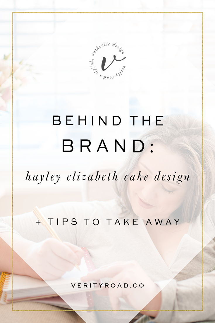 Behind the brand, branding and website for Hayley Elizabeth Cake Design by Verity Road. Business tips, business advice, website help. Luxury branding, female entrepreneur, wedding professional, wedding business branding. Logo design, brand elements, feminine colour palette, business card design, patterns and textures. See more for custom web design.