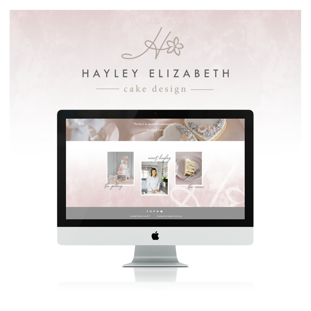 Brand board, brand style guide for the branding of Hayley Elizabeth Cake Design by Verity Road. Feminine branding, feminine web design, luxury branding, female entrepreneur, wedding professional, wedding business branding. Logo design, brand elements, feminine colour palette, business card design, patterns and textures, web design, business tips.