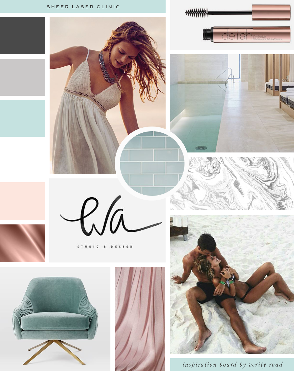 Mood board for Sheer Laser Clinic, luxury branding, brand styling. Beauty salon branding, feminine branding, feminine business, business branding, brand board. Feminine light color palette, inspiration board of typography, script font, soft textures, nail salon branding, beauty branding, spa branding, business owner, office, workspace, photoshoot, brand photoshoot. See more for brand board, social media branding and print design.