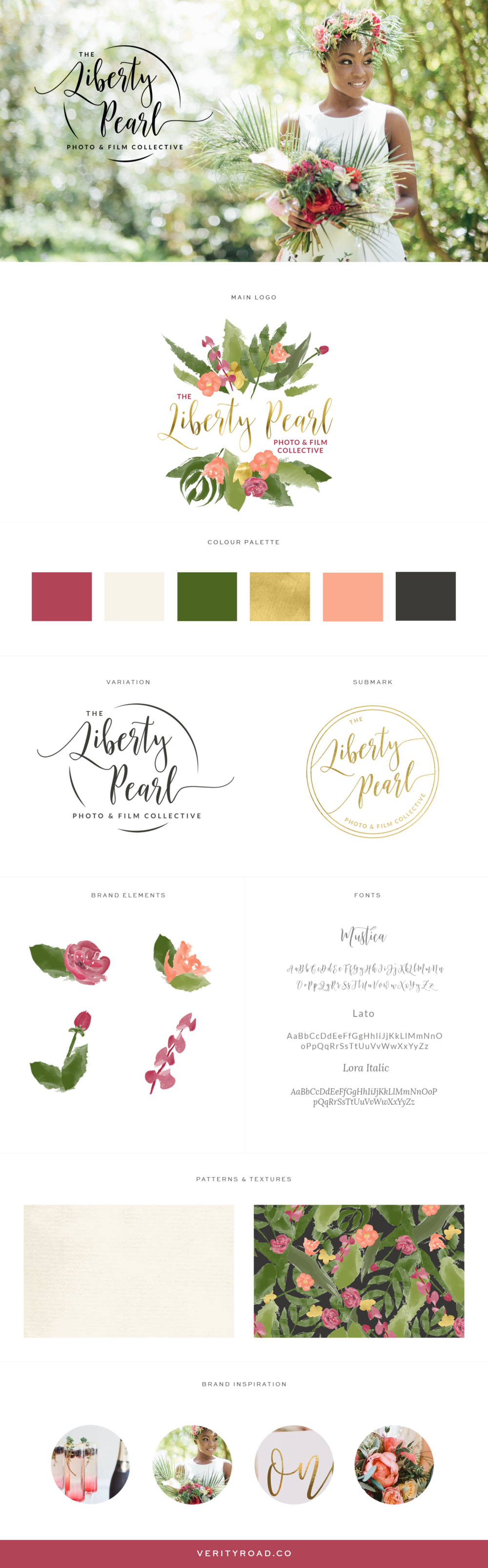 brand board for liberty pearl photography, luxury brand styling and web design for female entrepreneurs. feminine exotic branding, brand style guide, logo, submark, brand elements, script font, sans serif, GREEN, SAGE, BROWN, DEEP RED, CORAL, BRIGHT COLOR PALETTE, FLORAL pattern, flowers business owner, blogger. See more for mood board, social media branding, print materials and website design.