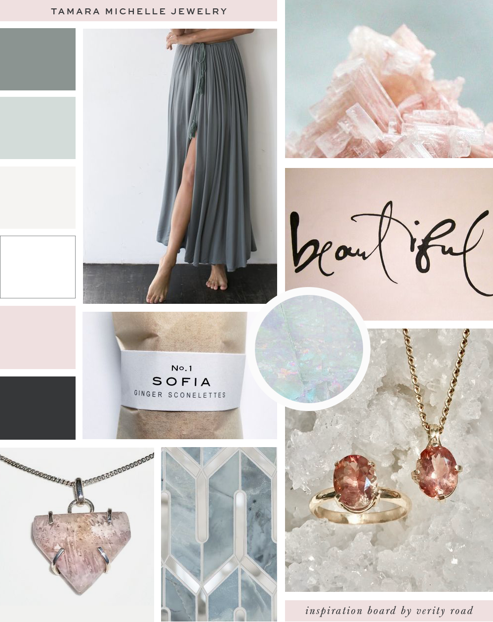 Mood board, inspiration board for the branding, brand design, brand styling of jewellery designer Tamara Michelle Jewelry by Verity Road. Feminine branding, feminine web design, luxury branding, female entrepreneur, brand photoshoot, website design, lifestyle business, weddings and events branding. See more for brand board.