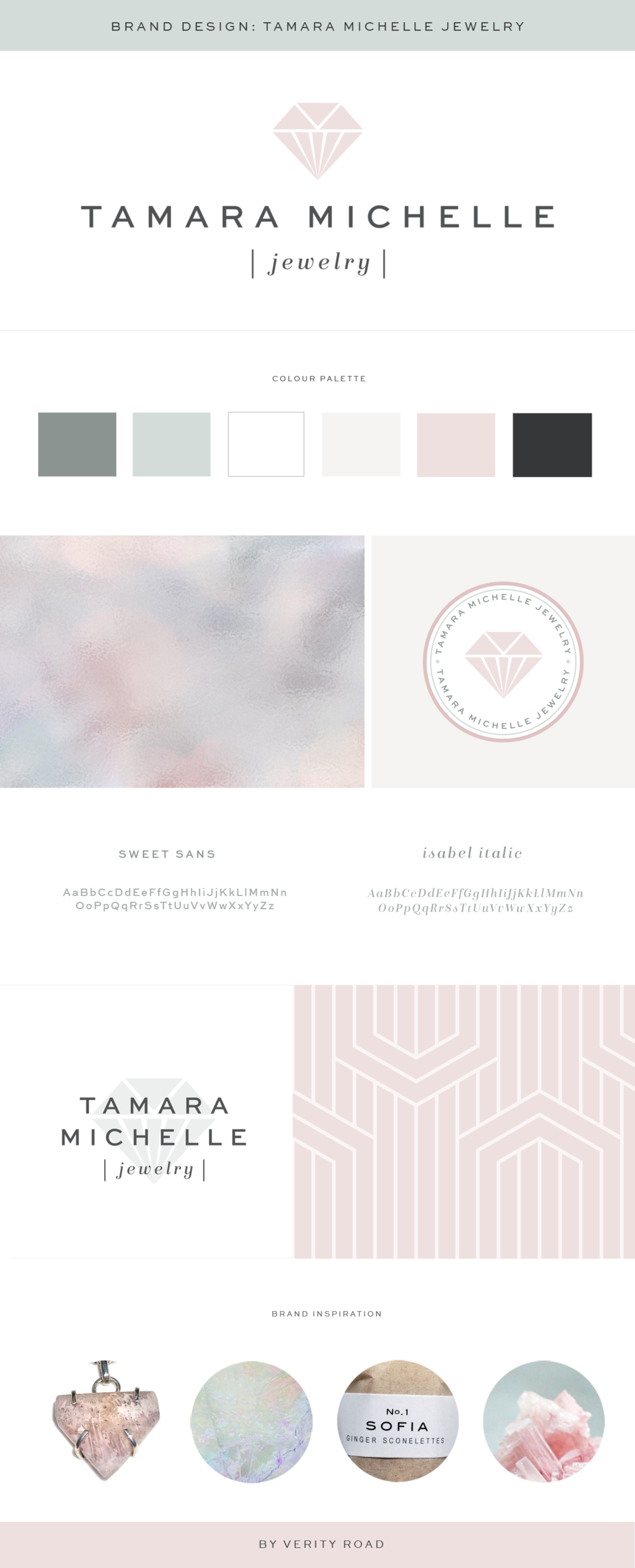 Brand board, brand style guide for the branding of Tamara Michelle Jewelry by Verity Road. Feminine branding, feminine web design, luxury branding, female entrepreneur, lifestyle brand, wedding business branding, weddings and events branding. Logo design, brand elements, feminine colour palette, business card design, patterns and textures. See more for custom web design.