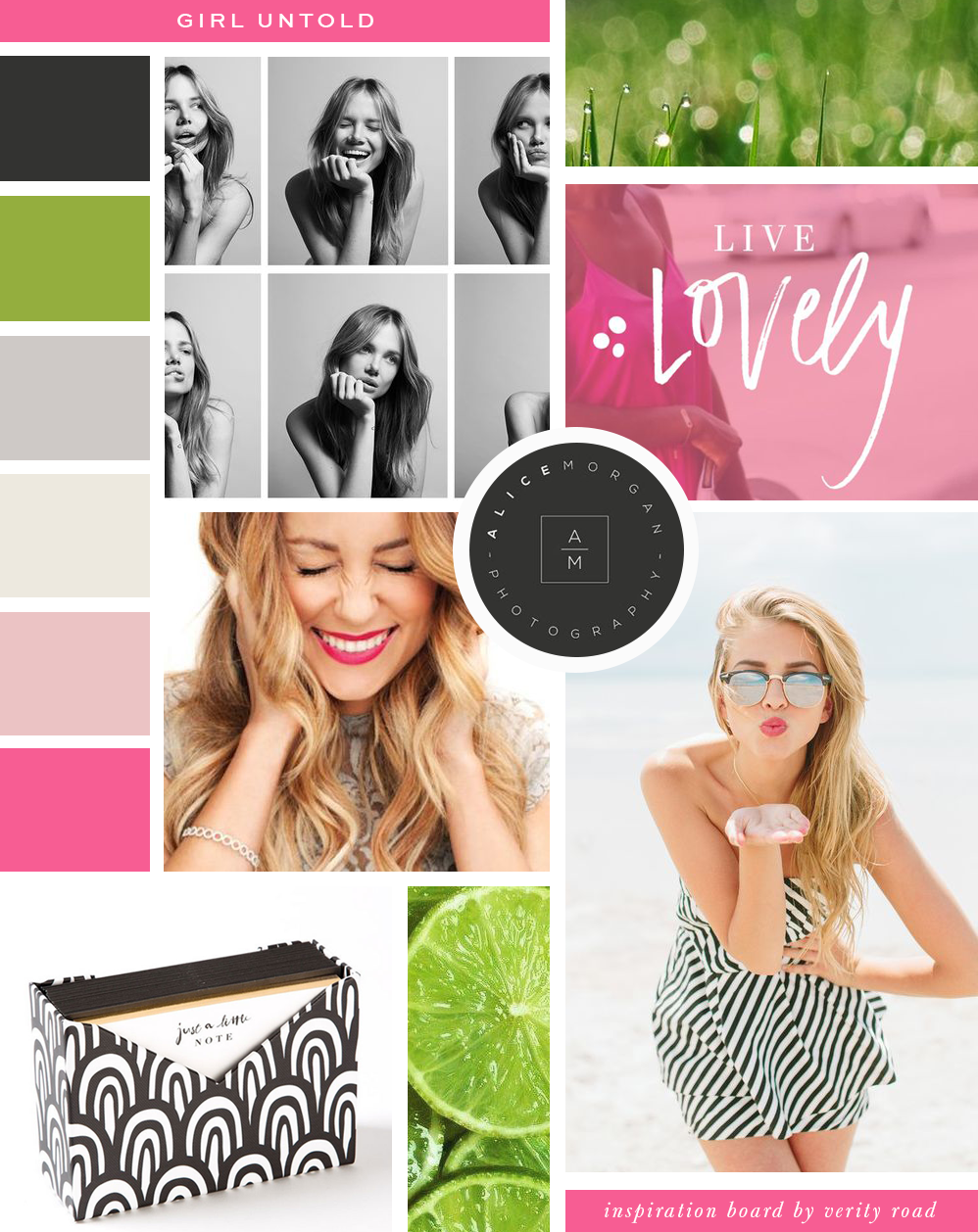 Mood board, inspiration board, branding, brand design, web design, brand styling for Girl Untold. Strong, bold and bright feminine branding and custom website design. Girl Untold is a social movement empowering women to smash stigmas, break from societal standards, inspirational leaders, find confidence and self-esteem in themselves as women in life. Pink green black color palette. Fun branding.