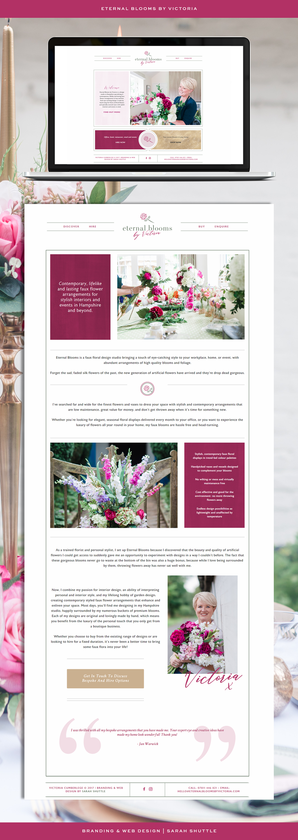 Branding, brand design, web design, brand styling for Eternal Blooms by Victoria. Brand board, faux florist, floral design, luxury florist, feminine branding and custom website design, wedding professional, luxury wedding business branding, female entrepreneur, high-end service branding, luxury web design, feminine web design. Pink, green, gold colour palette. Flowers, floristry, logo design, submark, icon, patterns and textures, brand photography.